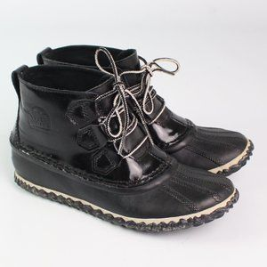 Sorel Out 'N About black patent rain boot lace up
